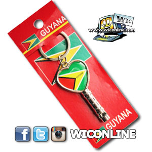 Guyana Country Flag Heart Shape Metal Keychain & Whistle